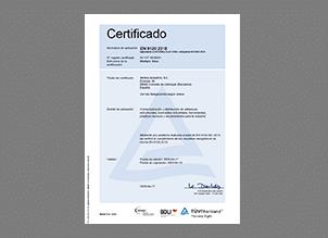 Certificado EN 9120 2018 español